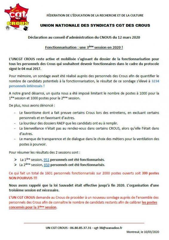 Ca cnous 12 mars 2020 declaration