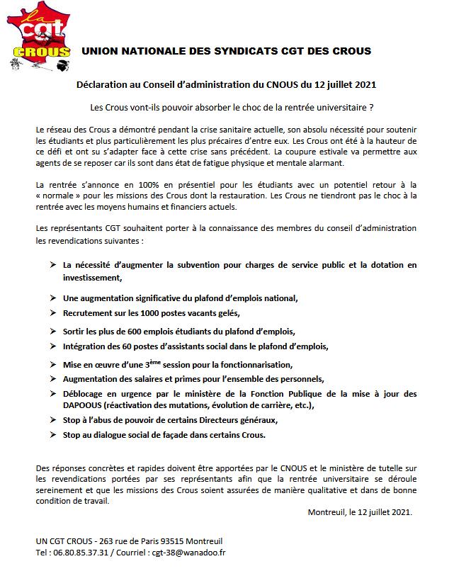 Declaration ca du cnous 12 juillet 2021