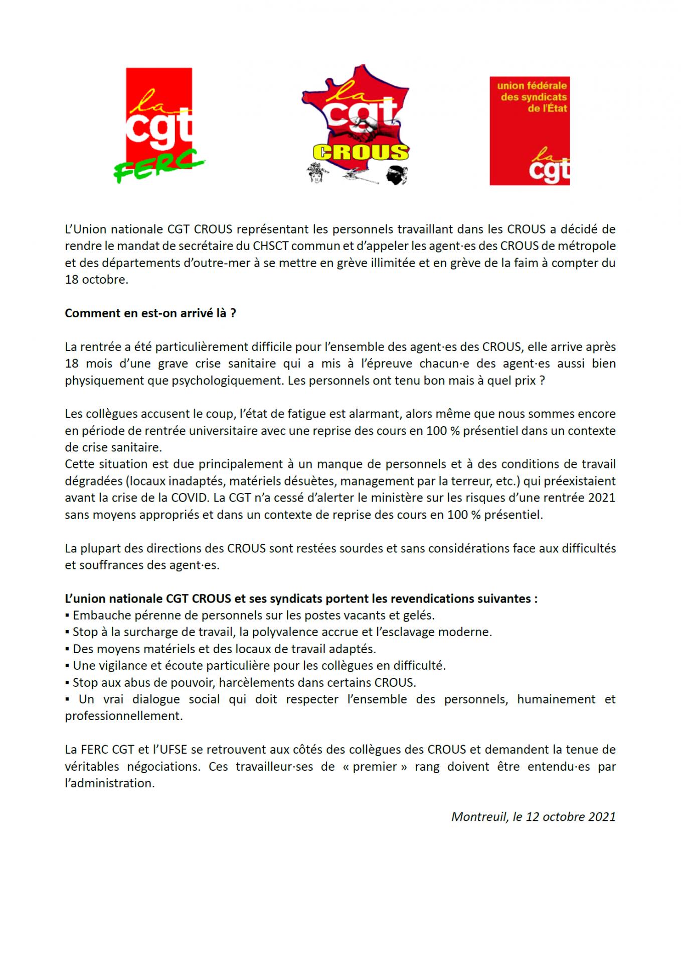 Declaration de presse